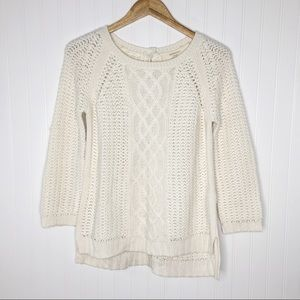 Zara Knit Cream Cable Knit Back Button Up Sweater